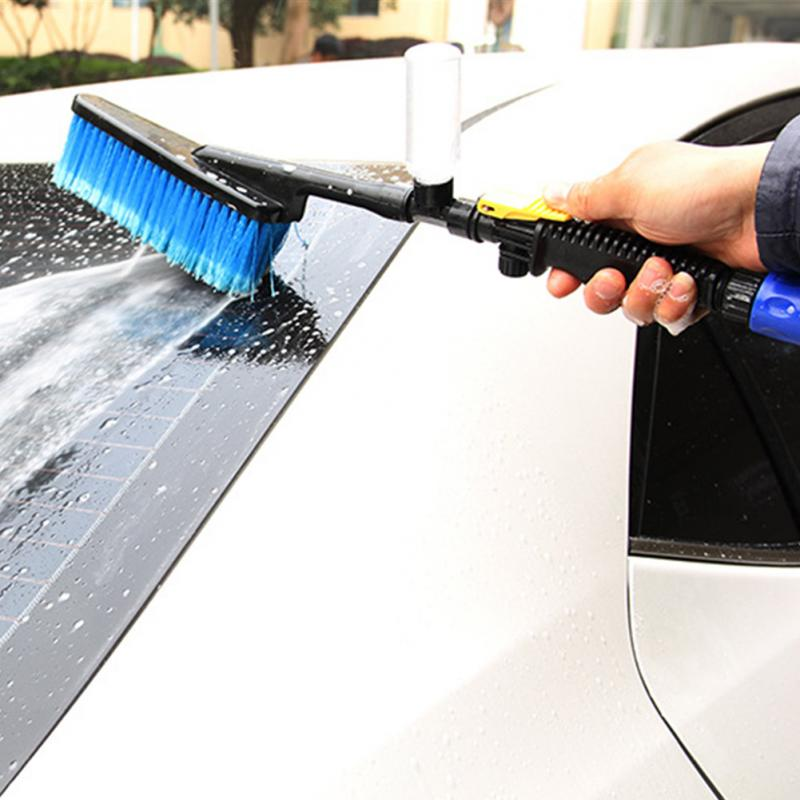 2017 Durable Car Wash Brush Auto Exterior Retractable Long Handle Water Flow Switch Foam Bottle Car Cleaning Brush