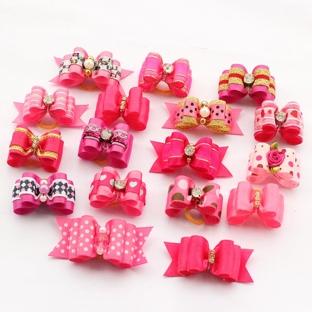 10 Pcs Handmade Dog Pet Puppy Grooming Bows Accessories Boutique