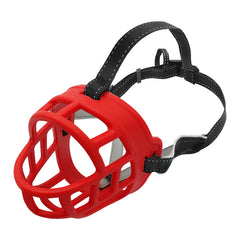 Soft Rubber Dog Training Muzzle Adjustable Straps Silicon Basket Anti-Bite All Sizes