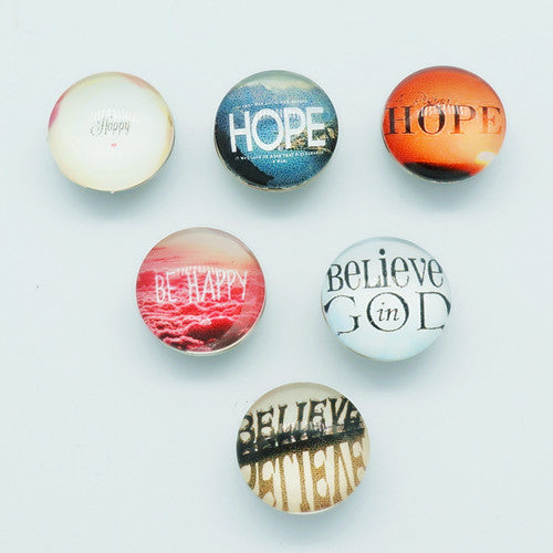 10pcs Mixed  Cabochon Hope Believe Snap Buttons