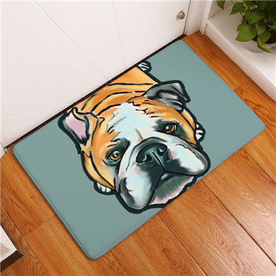 2017 Modern Style Lovely Painting Dog  Print Carpets Anti-slip Floor Mat Outdoor Rugs Animal Front Door Mats