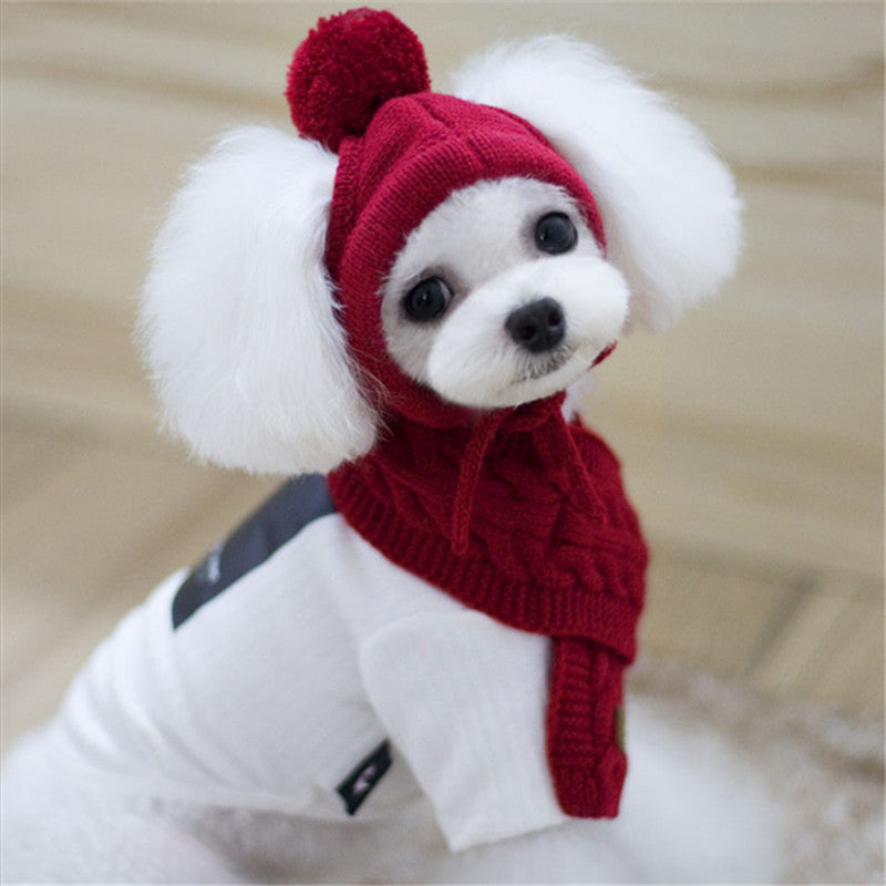 Pet Dog Winter And Fall Christmas Warm Pure Color  Cap And Scarf