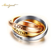 "Unique  Rings  ""HOPE FAITH LOVE"" Unisex"