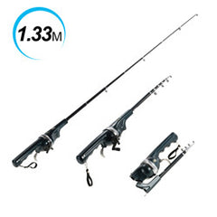 Pole Combo Fiberglass Fishing Rod Reel  + Line 133/158cm
