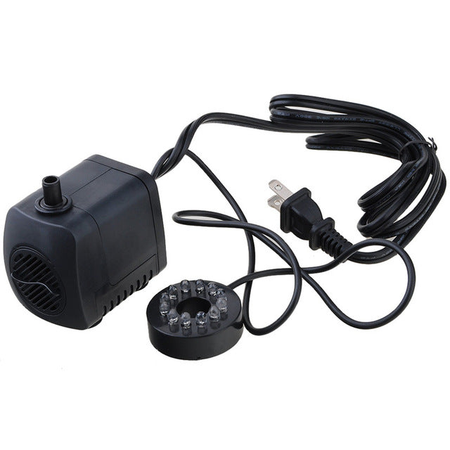 15W 800L/h Submersible Fountain Pool Water Pump with 12 Color LED Light Fish Tank Aquarium Fountain Pond Pool Pumps Decoration