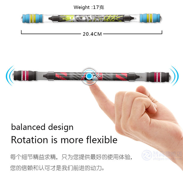 1PCS Cool Spinning Pen Rotating Gaming Ballpoint Pen Non Slip Coated Spin Rolling Pen Blue Ink Refill Matting Finger Playing Pen