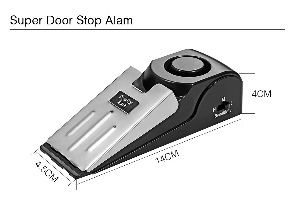 125 dB stop system Security Home Wedge Shaped Door Stop Stopper Alarm Block Blocking Systerm