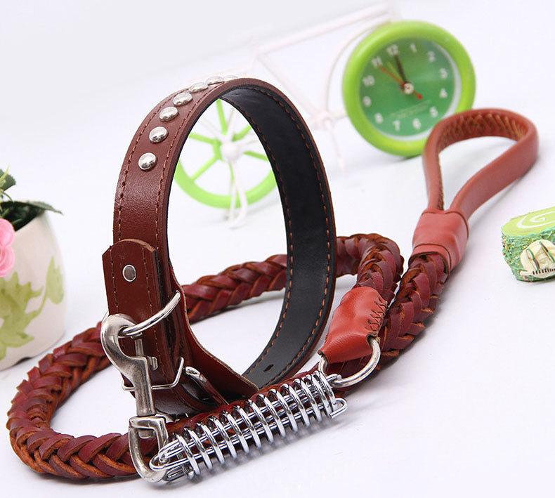 120cm Top quality Genuine Leather Large Dog Leashes Pet Traction Rope Collar Set For Big Dogs