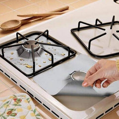 Reusable Foil Gas Hob Range Stovetop Burner Protector Liner Cover For Cleaning Kitchen Tools 4Pcs