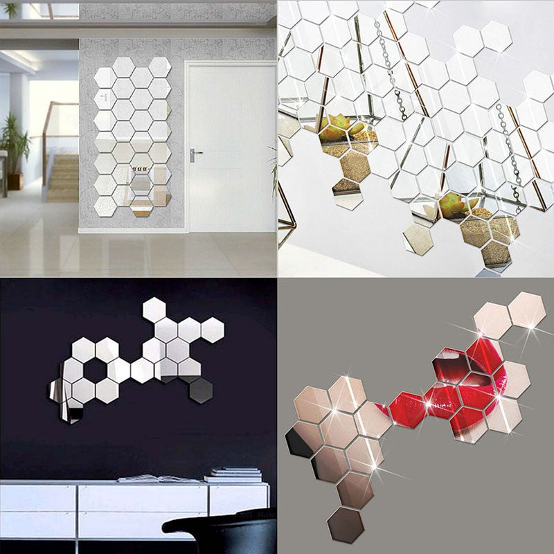 12pcs Hexagon Mirror Style Silver Removable Decal Vinyl Art Wall Sticker Home Decor