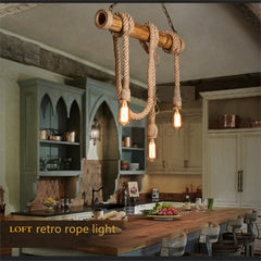 Loft Personality Rope Pendant Lights Retro Vintage Restaurant Lamp Dining room pendant lamps E27 hemp rope light