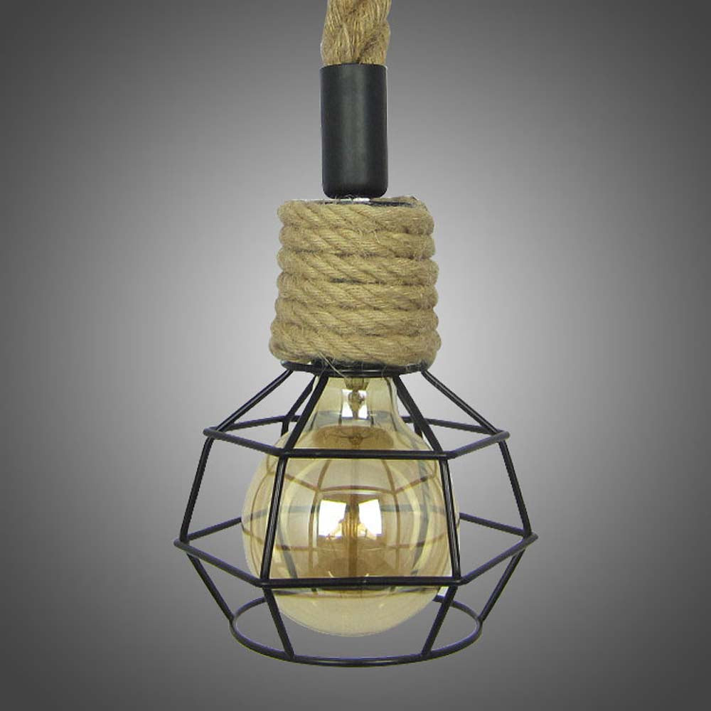 100cm Vintage Industrial Hemp Rope Pendent Light Chandelier Fixture with Black Lampshade For Bar Restaurant Coffee Shop