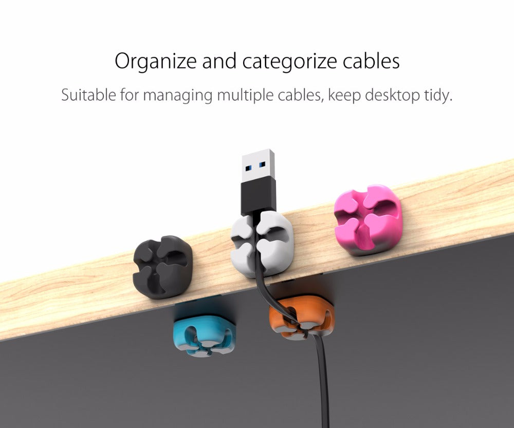 10Pcs Colorful Cable Winder Wire Storage Silicon Cable manager Holder Desk Tidy Organiser For Digital Cable