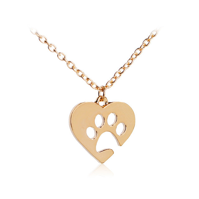 Hollow Pet Paw Print Necklaces Dog Cat Lovers
