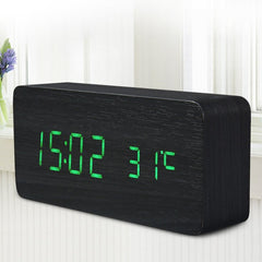 Wooden LED Desktop Alarm Clock with Old Style Temperature Sounds Control Calendar LED Display Electronic Digital Table Clocks
