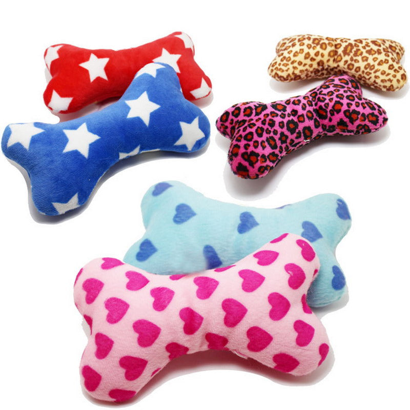 1 x Random Color Cute Strip Plush Pet Dog Cat Sound Squeaky Toy for Small Dog Puppy Chew Play Bone
