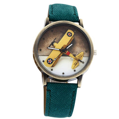 Plane Design Denim Leather Wrist Watch Green
