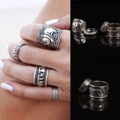 Retro Fashion Silver Elephant Joint Knuckle Nail Ring Set of Four Rings