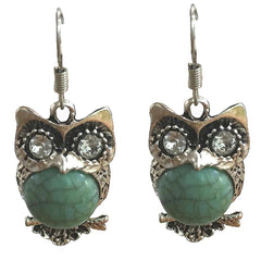Bohemia Retro Owl Turquoise Earrings Delicate Carved Jewelry