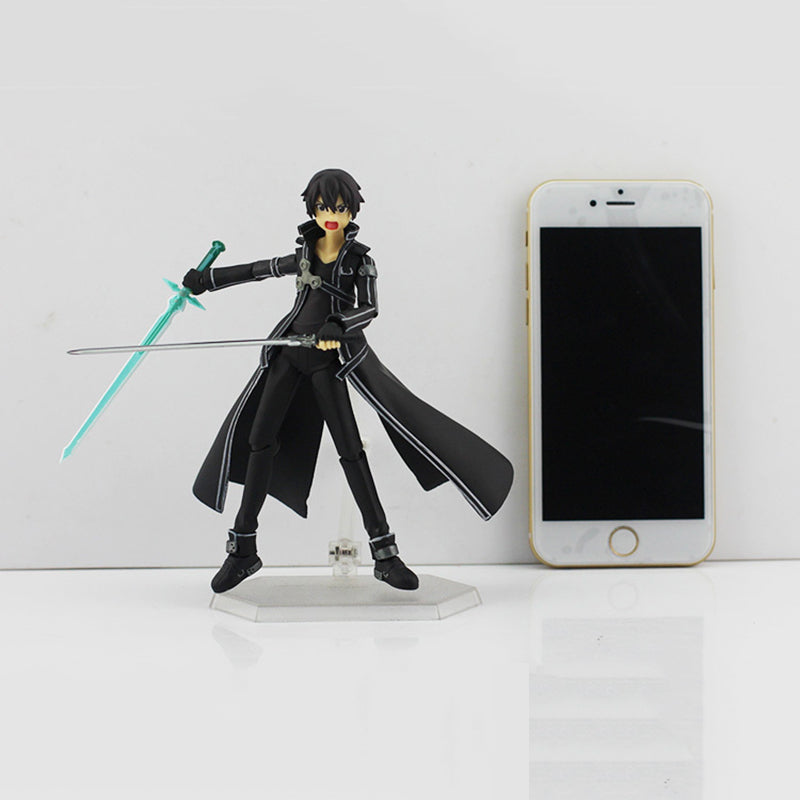 15cm Sword Art Online Action Figure SAO Kirito Figma 174 Model Doll With Sword Weapon