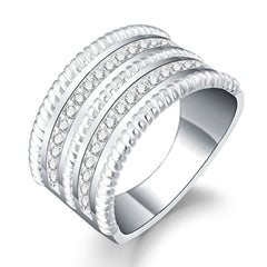 Fashion Women Crystal Round Zirconia Band Silver Ring Jewelry Size 7
