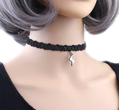 Choker Necklace Pendant Stretch Velvet Classic Gothic Tattoo Lace Choker