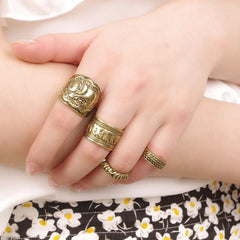 Retro Fashion Elephant Joint Knuckle Nail Ring Set of Four Rings