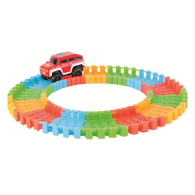 Magic Tracks,Glowing Race Car , LED Flashing Light Tracking Rail Glow in the Dark Flexible Railway