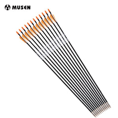 12pcs/lot  31 Inches Spine 700 with Orange Feather Fiberglass Arrow for Recurve Bow Arrow or Long Bow Practice /Hunting