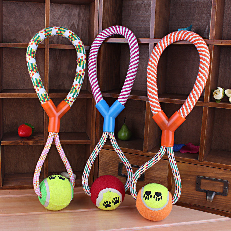 1 pcs Rope Braided Ball Dog Chew Toys Puppy Cotton Chewing Ball Bone Knot Indestructible Dog Toys for Aggressive Chewers