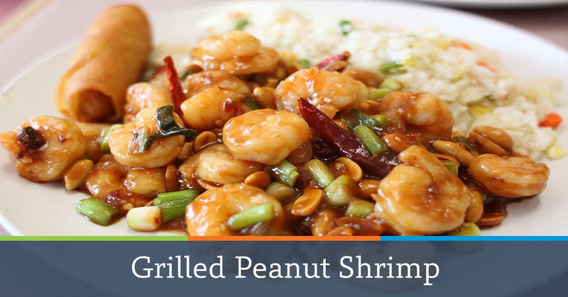 Grilled Peanut Shrimp with Sesame Snow Peas