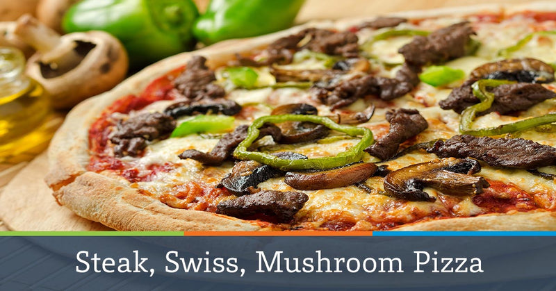 Steak, Swiss, Mushroom Pizza