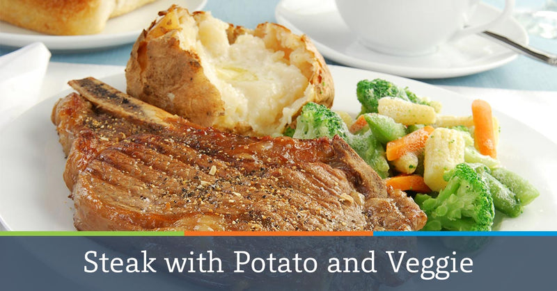 Steak with Potato and Veggie