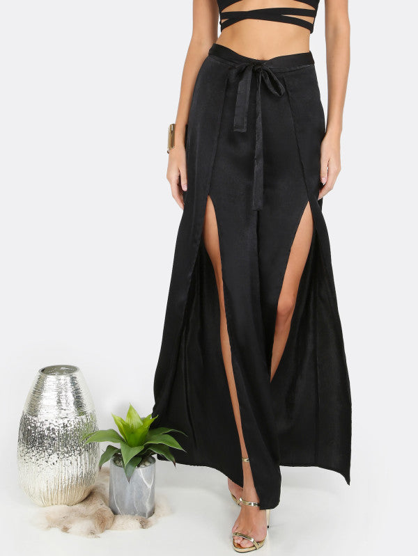 Tie Waist Double Slit Pants