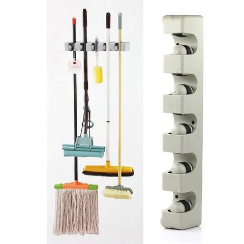 Organize Quick with Wall Shelf Mounted Mop Broom Storage Holder Rack Organizer 5 Slots for Brooms, Garden Tools & More