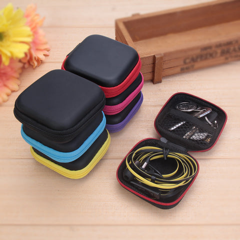 Organize Quick with Mini Square Hardshell Portable Earphone SD TF Card Storage Travel Case
