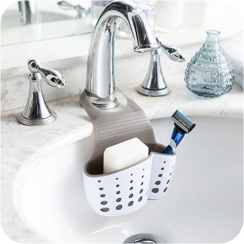 Organize Quick with Kitchen-Bath Sink Suction Shelf Soap Sponge Storage Drain Rack