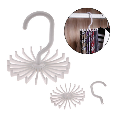 Organize Quick with High Quality White Plastic Tie Rack Rotating Hanger Hook Tie Holder 1 Piece Holds 20 Ties, Belts, Scarves