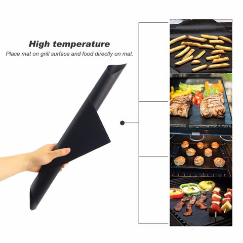 Organize Quick with 2pcs Reusable Non-Stick BBQ Grill Teflon Mat Sheet Liner