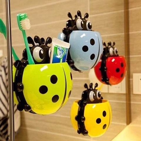Organize Quick with Ladybug Toothbrush Wall Suction Bathroom Cup Holder