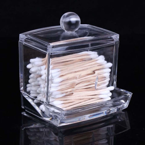 Organize Quick with Clear Acrylic Cosmetic Cotton Swab Q-tip Storage Holder Box Container