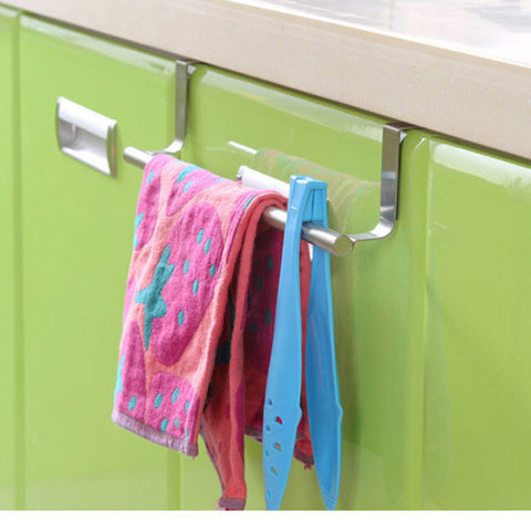 Organize Quick with 9 Inch Stainless Steel Over the Kitchen-Bath Cabinet Cupboard Towel Bar Holder