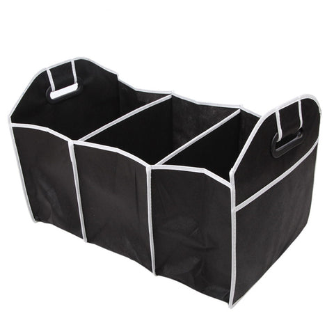 Organize Quick with Collapsible Black Car Trunk Storage Organizer