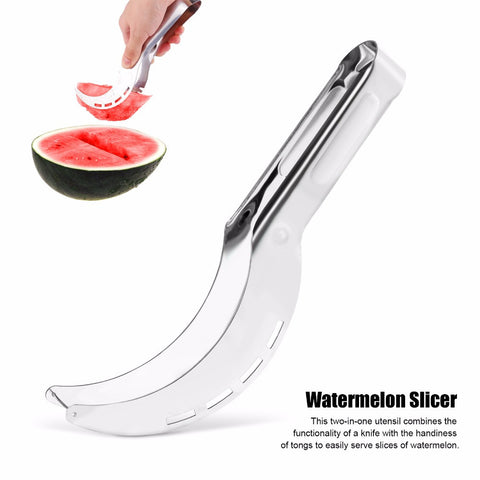 Organize Quick with Easy to Use Stainless Steel Watermelon Slicer-Corer-Cutter Knife-Serving Tong