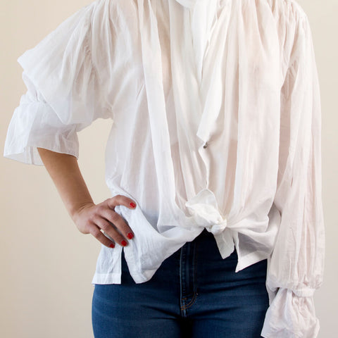 Bow Bow silk shirt with romantic sleeve, wrap ties | The Tailor & his Lover