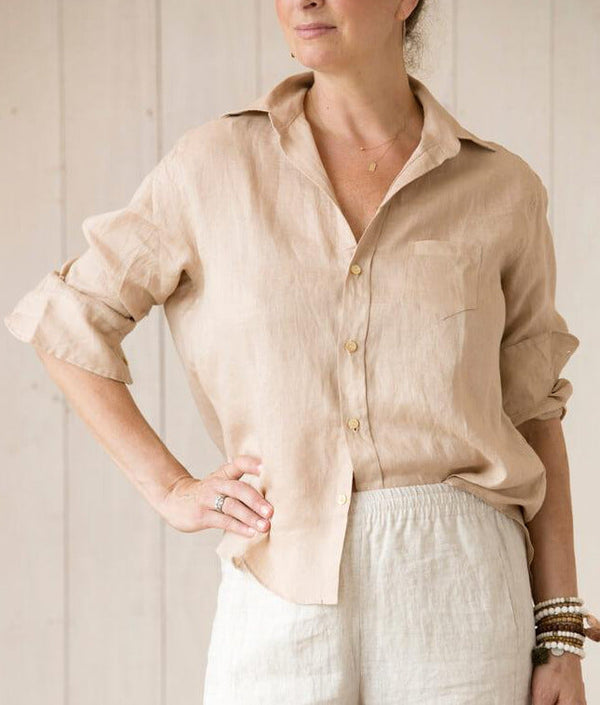linen 'boyfriend shirt', longer at back, tie in front or loose.