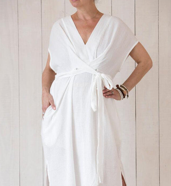 maxi dress in fine cotton gauze, perfect throw on and go, many options to tie