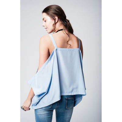 Blue cold shoulders top