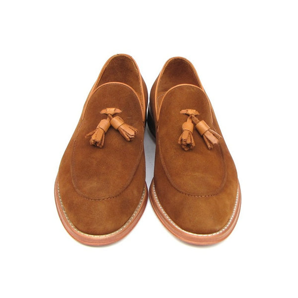 Paul Parkman Men's Tassel Loafer Tobacco Suede Shoes (ID#087-TAB)