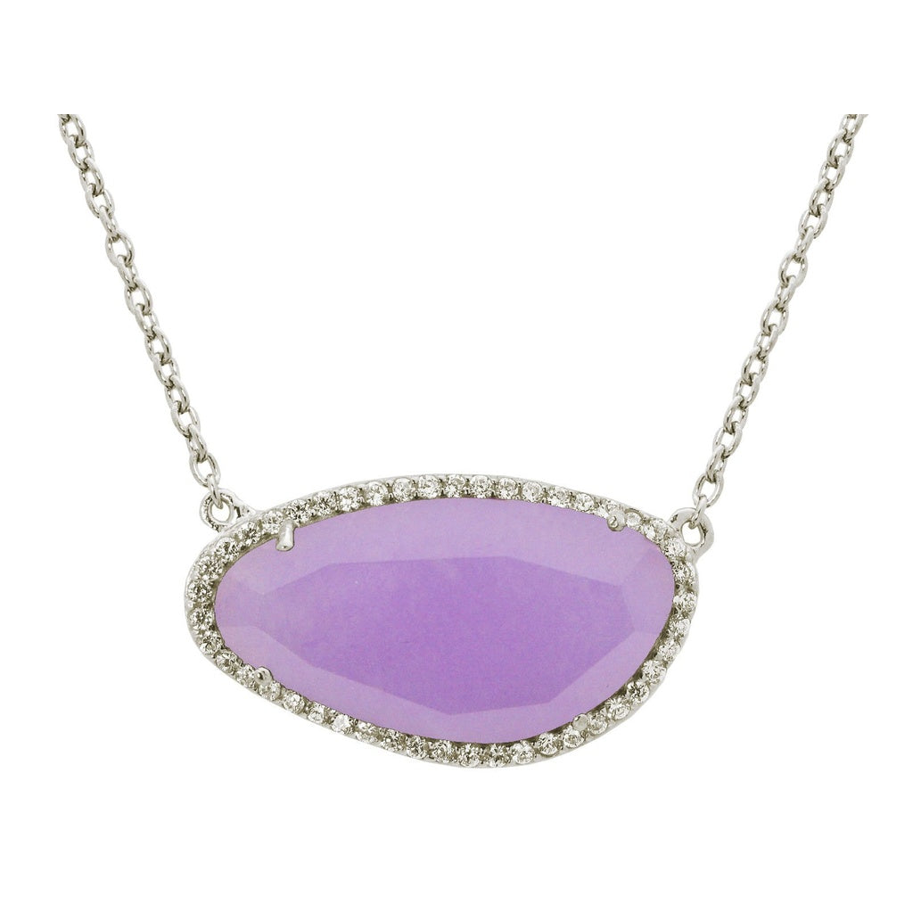 Platinum Plated Sterling Silver Purple Jade Slice Pendant Necklace, 16""